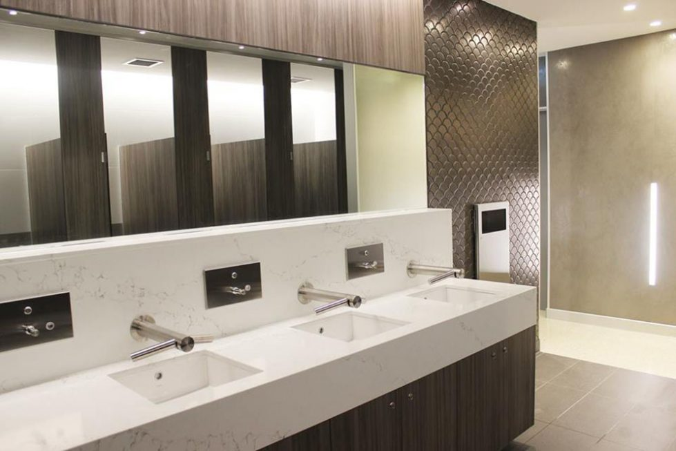 design clarity, toilet design, mirror, automatic taps, sensors, marble sink, modern design, easy to maintain