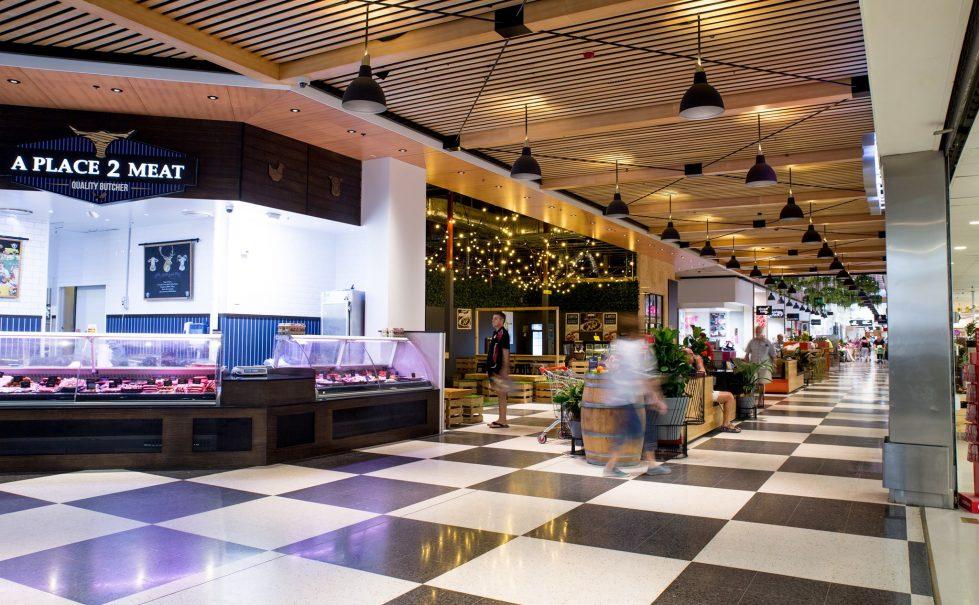 Brisbane, design clarity, shopping centre design, corridor, timber ceiling, circulation, flow, welcoming shopping area