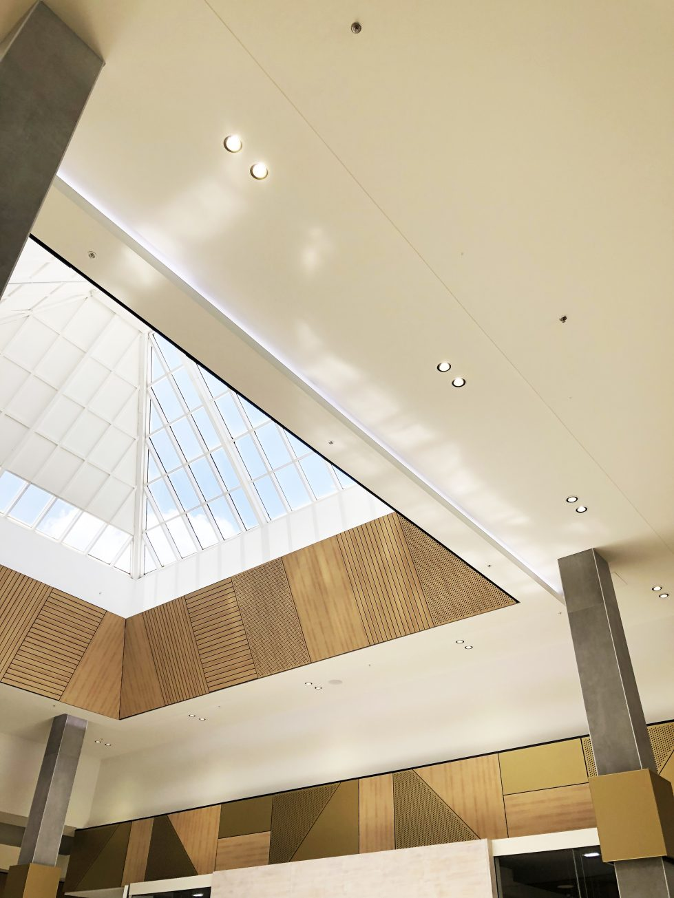 design clarity, roof light, skylight, timber pattern, ceiling feature, shopping centre, unique design