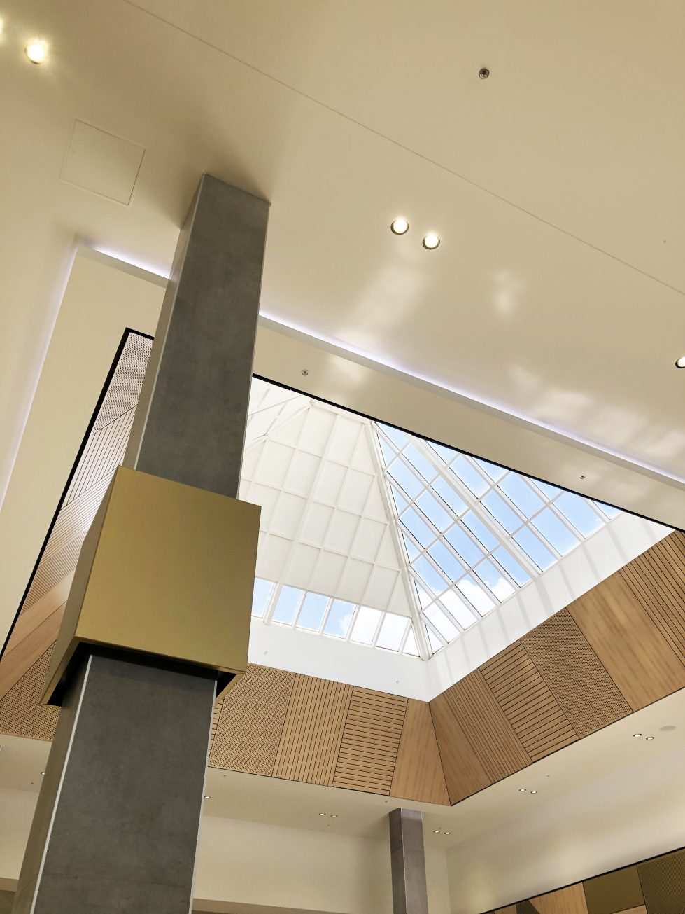 design clarity, shopping center design, cladding detail, roof light, timber panelling, brass signage